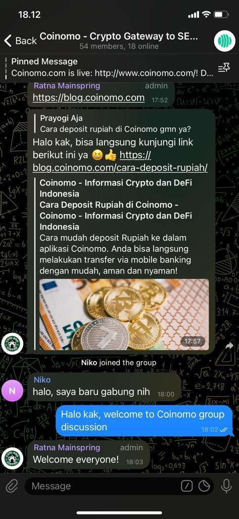 Interaksi Grup Telegram Coinomo