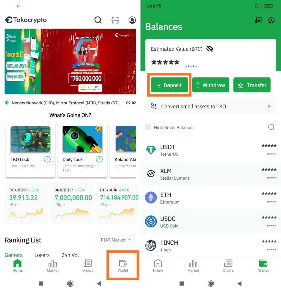 Buka aplikasi wallet exchange